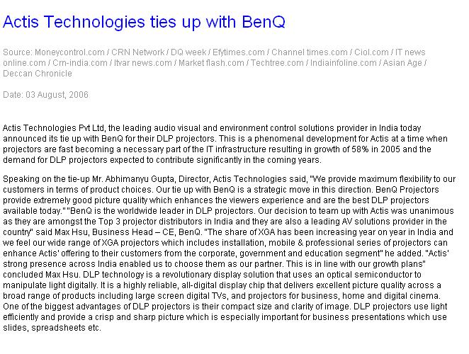 Actis Technologies ties up with Benq
