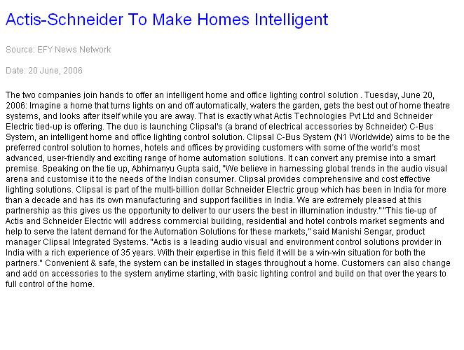Actis-Schneider to make homes intelligent