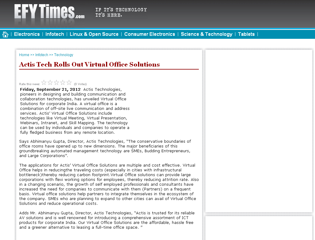 Actis Tech Rolls Out Virtual Office Solutions - EFY Times