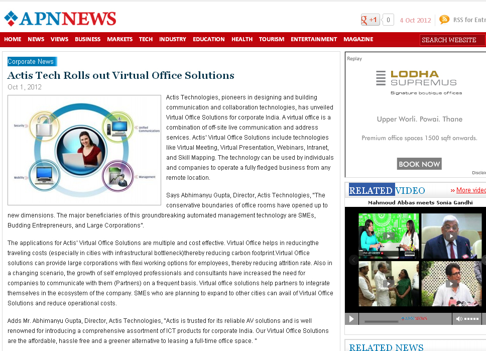 Actis Tech Rolls out Virtual Office Solutions - APN-News