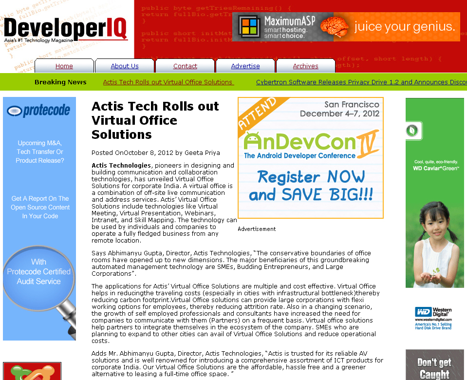 Actis Tech Rolls out Virtual Office Solutions - Developer IQ
