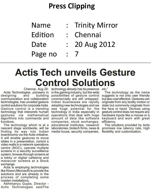 Actis Tech Unveils Gesture Control Solutions - Trinity-Mirror