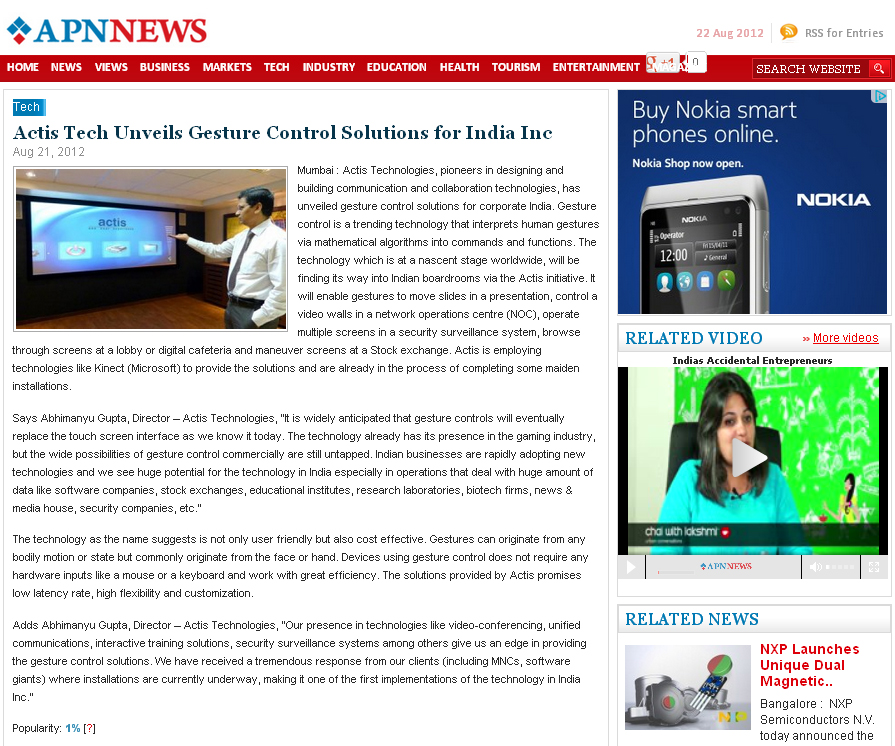 Actis Tech Unveils Gesture Control Solutions for India Inc - Apnnews