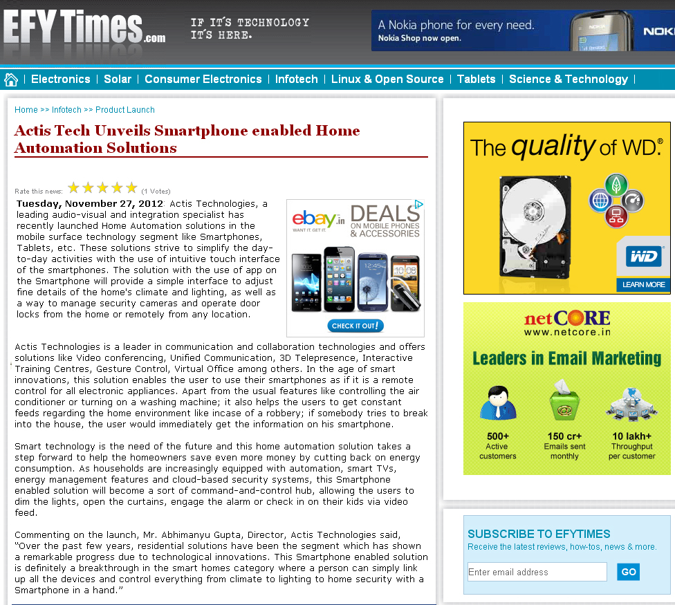 Actis Tech unveils Smartphone enabled Home Automation Solutions - Efytimes
