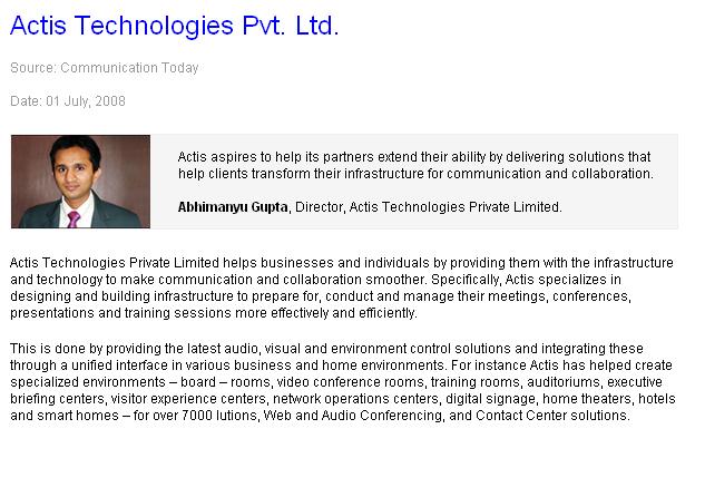 Actis Technologies Pvt. Ltd.