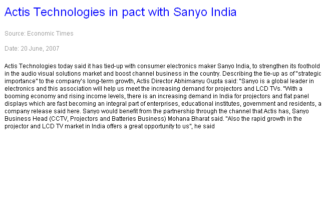 Actis Technologies in pact with Sanyo India