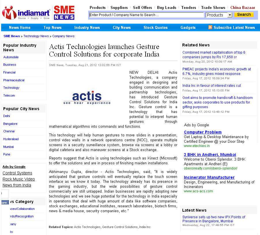 Actis Technologies launches Gesture Control Solutions for corporate India - Indiamart