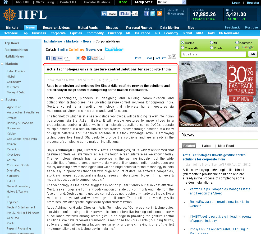 Actis Technologies unveils gesture control solutions for corporate India - Indiainfoline