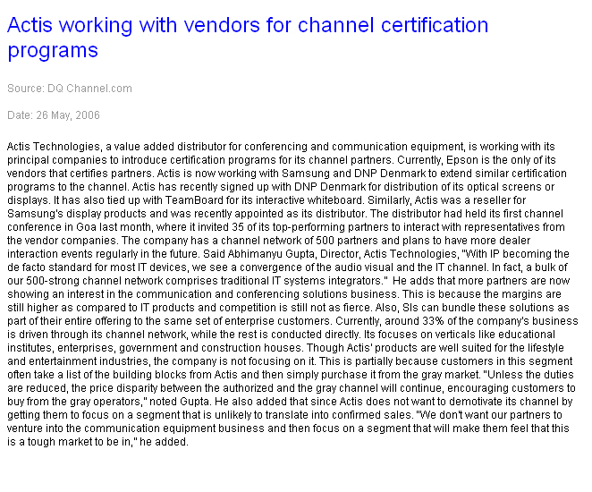 Actis working with vendors for channel certification programs
