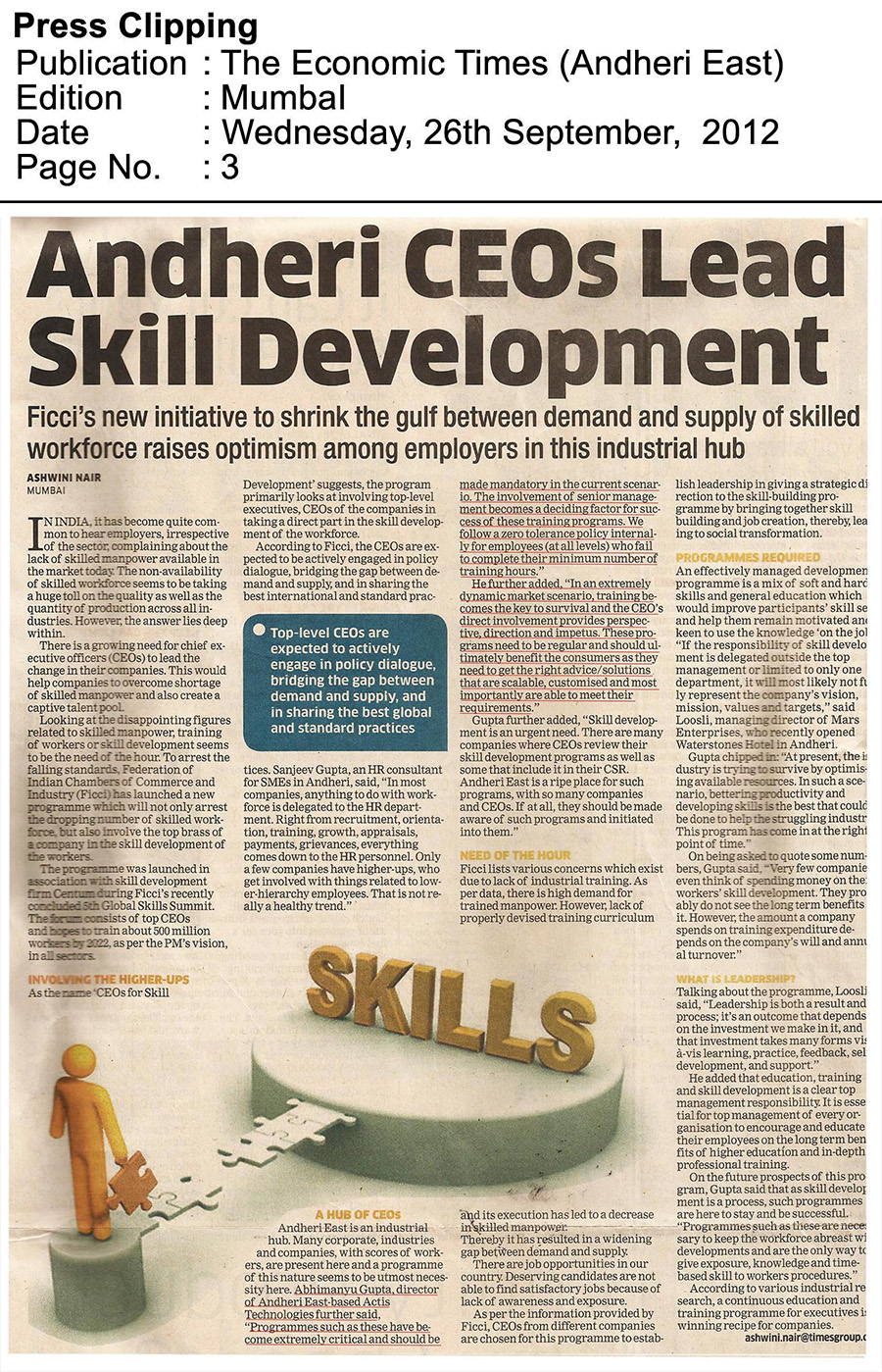 Andheri CEOs lead skill development