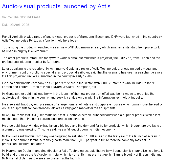 Audio-visual products launched by Actis