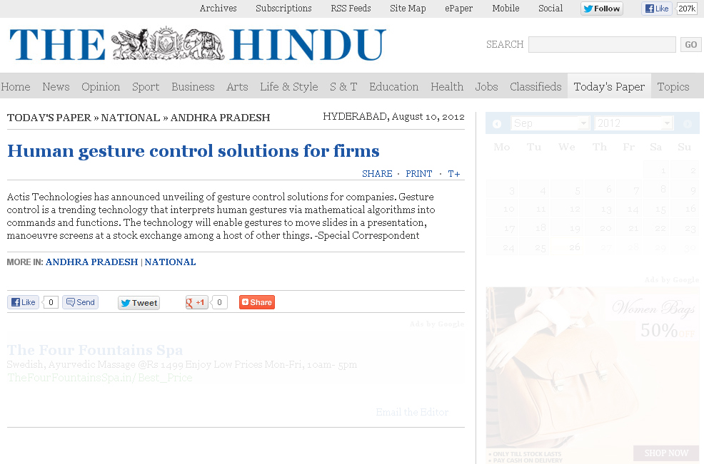 Human gesture control solutions for firms - The Hindu Online