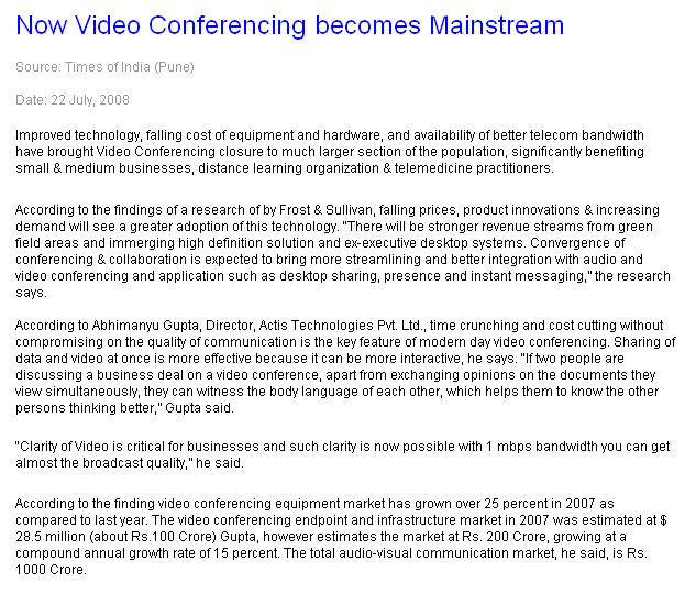 Now Video Conferening becomes Mainstream
