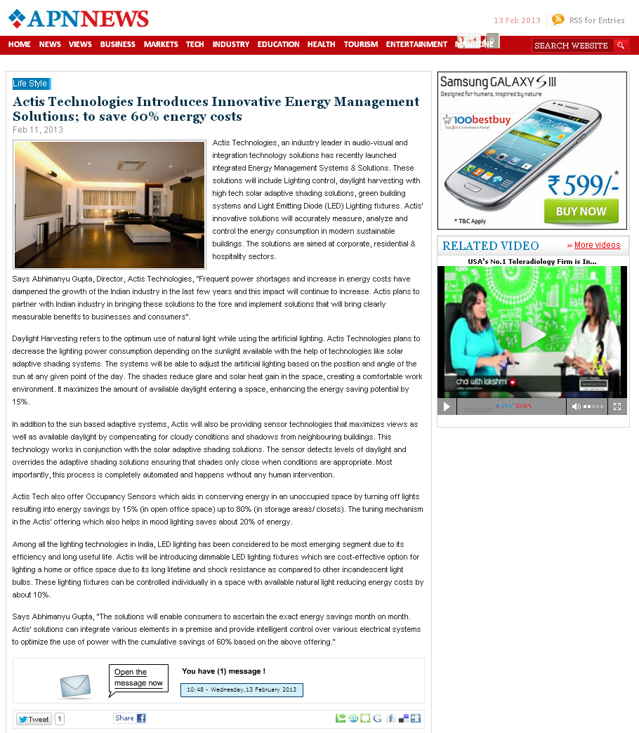actis-tech-introdu-energymanagement-solution-energycost-apnnews-com-feb11-2013
