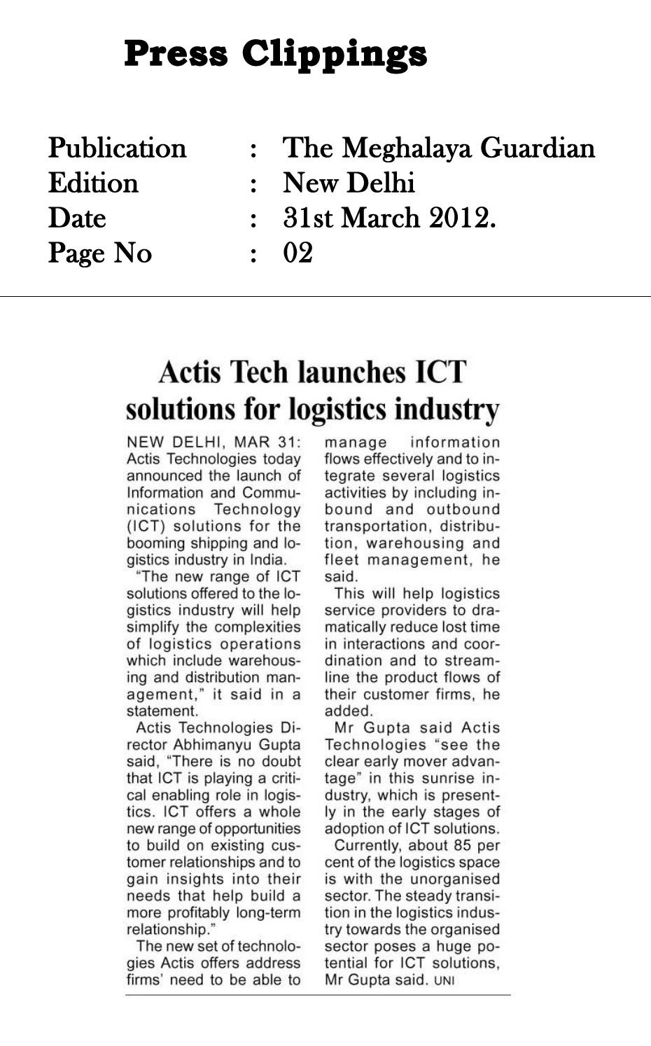 Actis Tech Launches ICT solutions for Logistics Industry - The Meghalaya Guardian