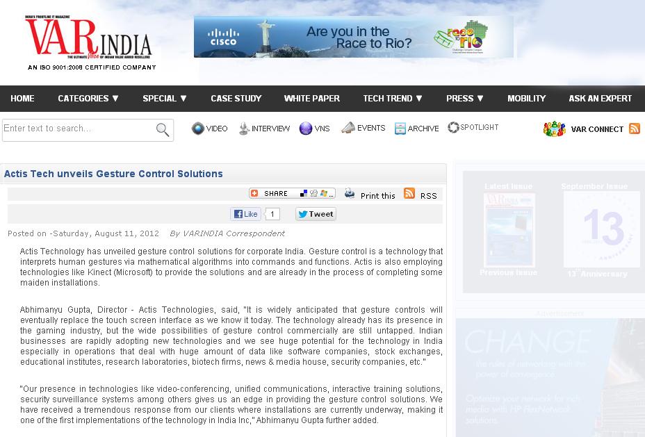 Actis Tech unveils Gesture Control Solutions -Varindia