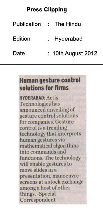Human gesture control solutions for firms - The Hindu (Hyderabad)