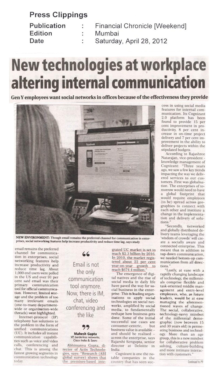 New technologies at workplace altering internal communication - Financial Chronicle (Print)
