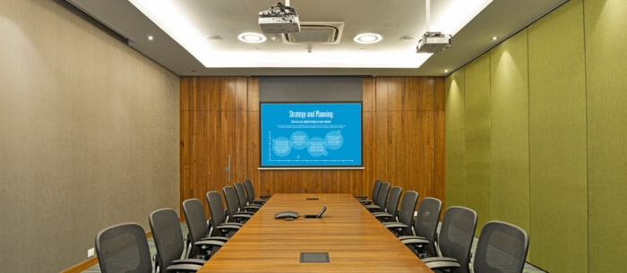 Multi-purpose space: Boardroom section at Bayer Thane