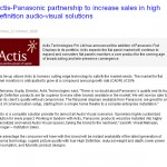 Actis-Panasonic partnership to increase sales in high definition audio-visual solutions India