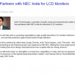 Actis Partners with NEC India for LCD Monitors
