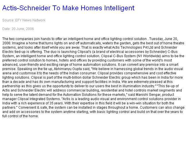 Actis-Schneider to make homes intelligent