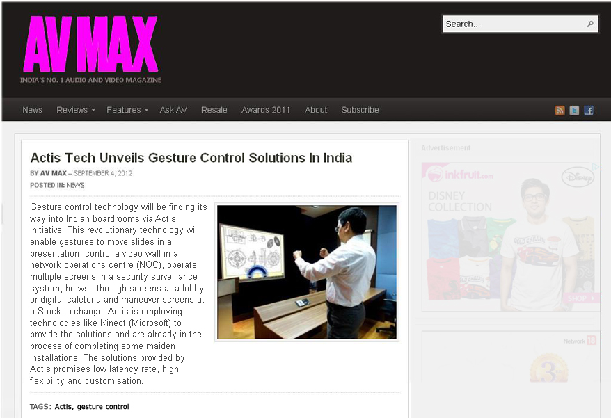 Actis Tech Unveils Gesture Control Solutions in India - avmax-co-in