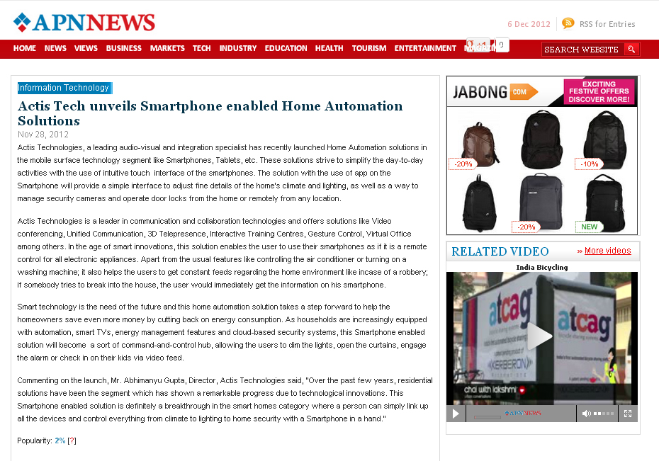 Actis Tech unveils Smartphone enabled Home Automation Solutions - Apnnews