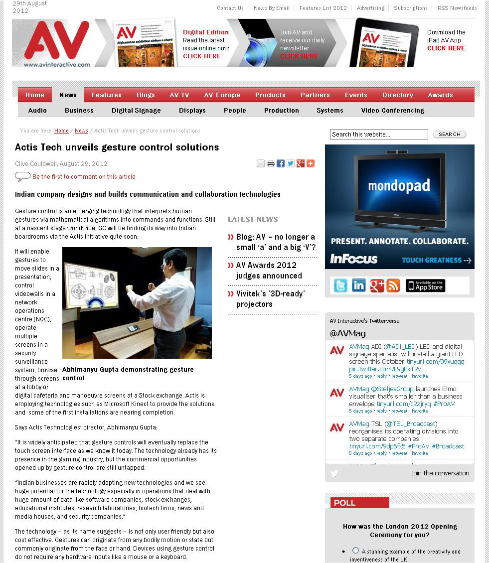 Actis Tech unveils gesture control solutions