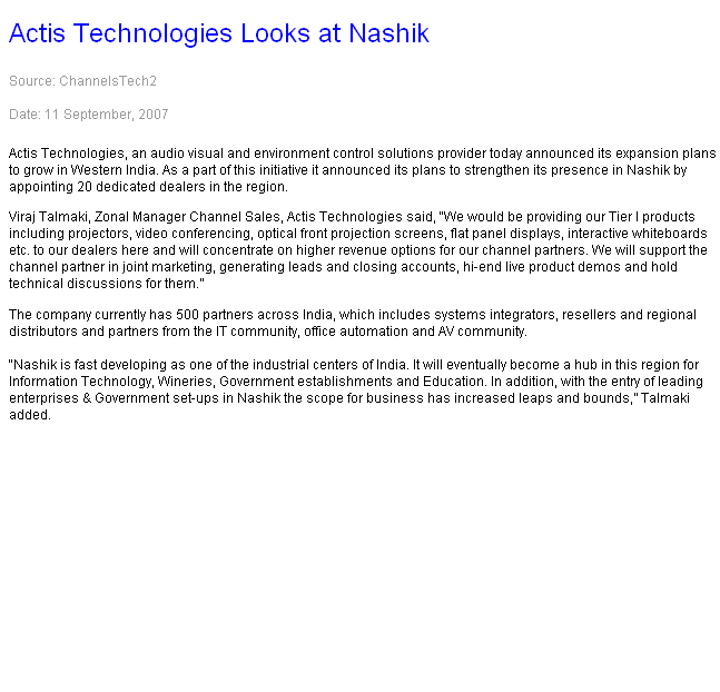 Actis Technologies Looks at Nashik