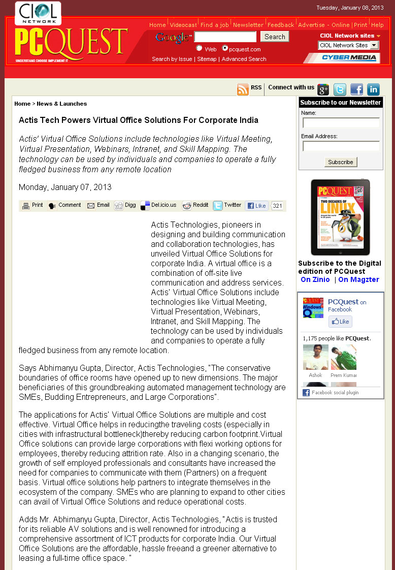 Actistechpowersvosforcorporateindia-pcquest-7jan