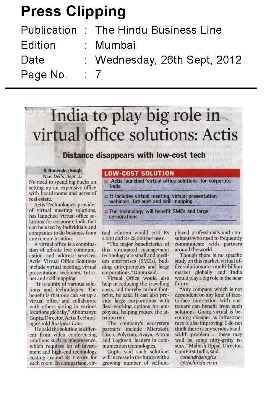 India to play big role in virtual office solutions -  Actis