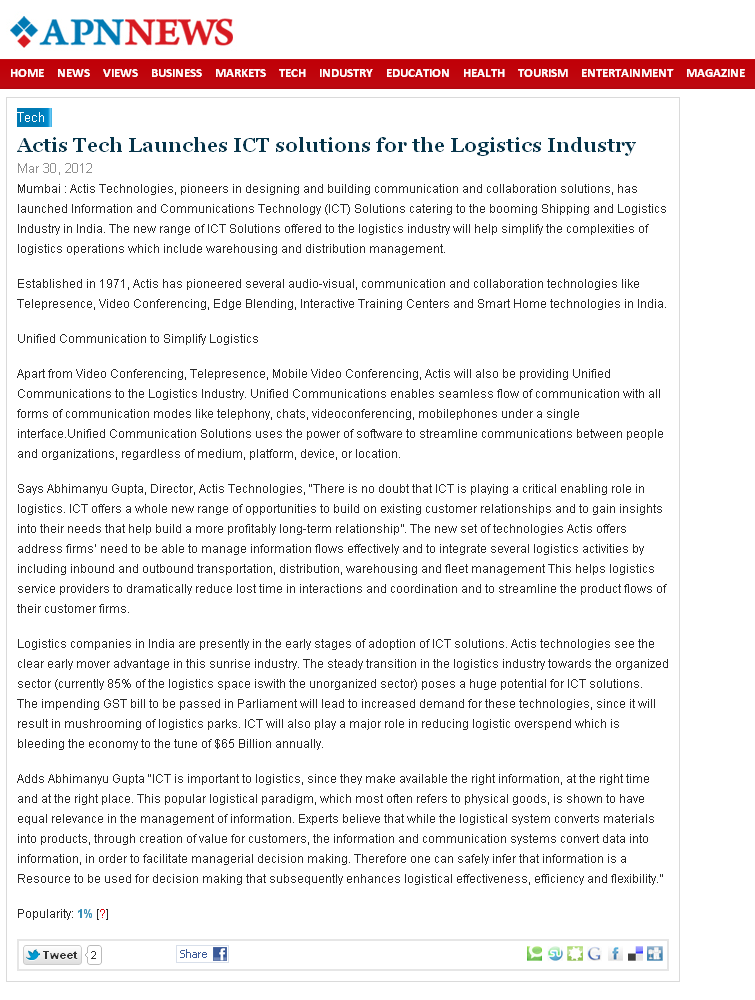 Actis Tech Launches ICT solutions for the Logistics Industry - APN News