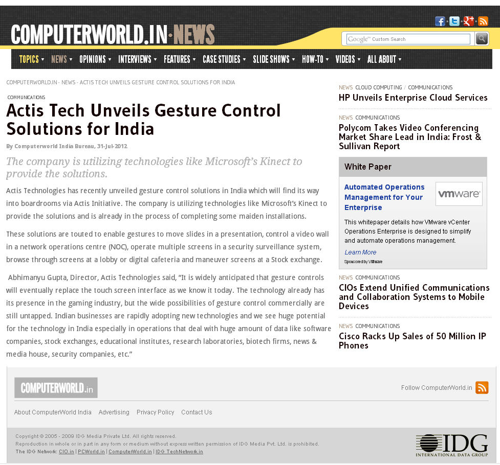 Actis Tech Unveils Gesture Control Solutions for India - ComputerWorld.in