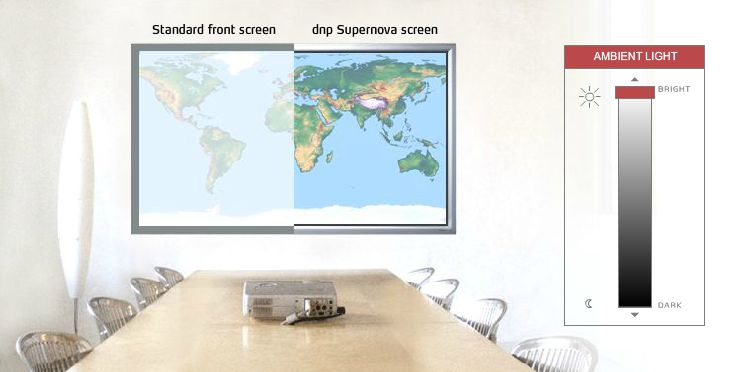 The Supernova One screen performs dramatically better than conventional screens in high brightness conditions (Image Source: DNP)