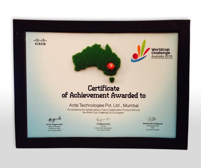 Certificate of Achievement Award to Actis