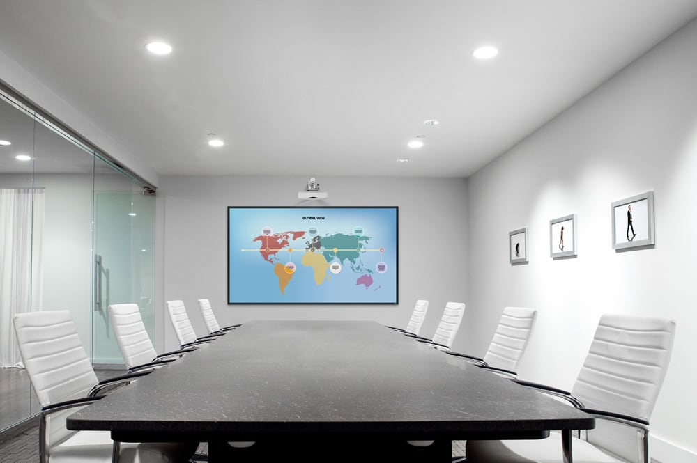 Optical flat screen in a meeting room